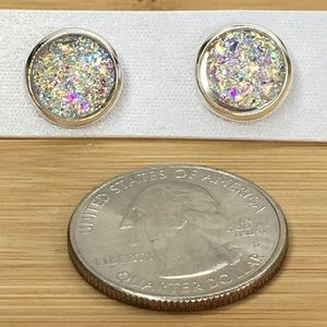 Jewelry - Rainbow Clear Druzy Earrings